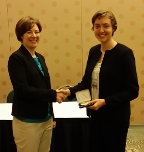 Dr. Michelle Vigeant presented the Newman Medal to Acadia Kocher at the ASA Providence conference